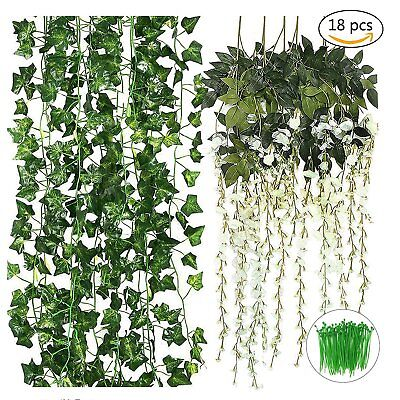 12 Artificial Ivy Vines Leaves 6 White Fake Wisteria Vines