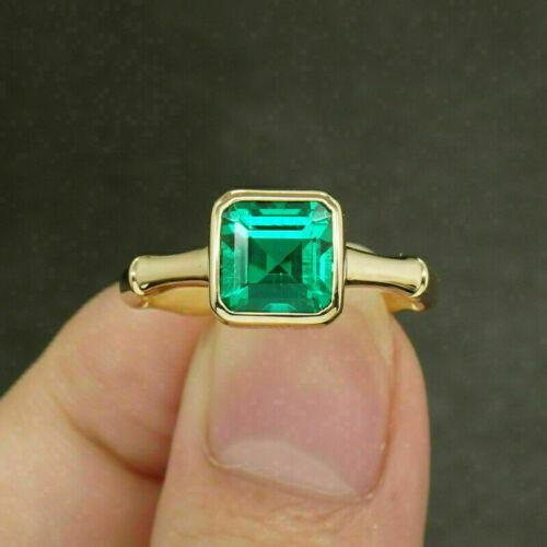 3 Ct Asscher Cut Green Emerald Solitaire Engagement Ring 14K Yellow Gold Finish