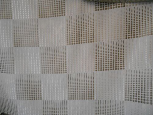 SILVER DOTS EMBROIDERED  ON WHITE LINEN DRAPERY UPHOLSTERY  FABRIC