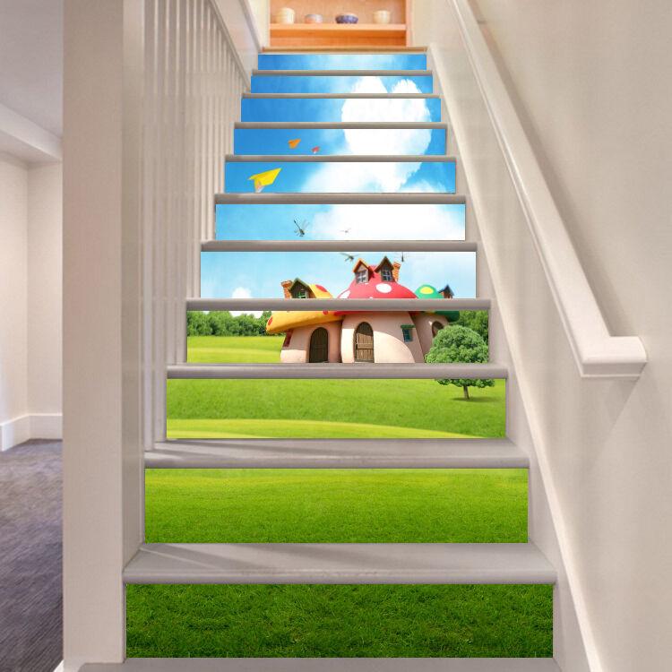 3D Mushroom House 7 Stair Risers Decoration Photo Mural Vinyl Decal Wallpaper UK