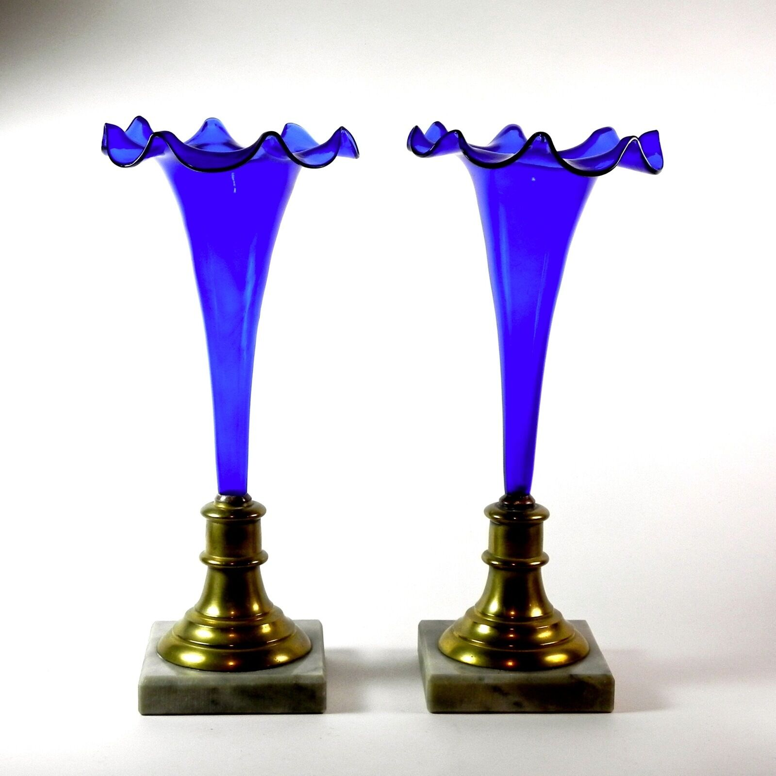 Stunning PAIR Cobalt Blau Glass Trumpet Vases Ruffled Rims Brass Mounted Marble