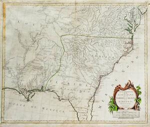 Details about c1780 USA East Coast Louisiana Georgia Virginia North South  Carolina Florida Map
