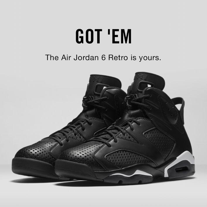 Nike Men's Air Jordan Retro VI 6  Black Cat  Black White 384664-020 (Size 13)