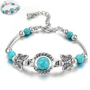 Popular-Women-Tibetan-925-Silver-Turquoise-Bangle-Cuff-Bracelet-Jewelry-Gift