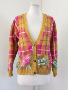 71f2c40726 Vtg 90s Mustard Yellow Pink Plaid Floral Cardigan Sweater Size S ...