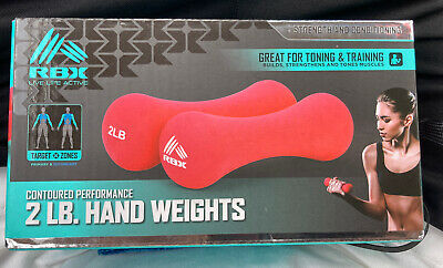 NEW RBX 2Lb Dumbbells Neoprene Coating Rounded Contoured Hand Weights Black
