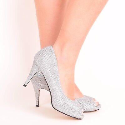 99f89587bc1 Ladies Women s Glitter Diamante Wedding Bridal Bridesmaids Prom High Heel  Shoes