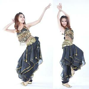 New-Belly-Dance-Costume-top-amp-gold-wavy-pants-No-Scarf-Belt-12-colours