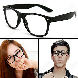 womens wayfarer  Unisex Fashion Retro Mens Womens Wayfarer Nerd Geek Glasses Clear ...