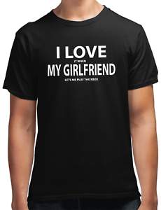 Gamer T Shirt Black All Size I love it when my Girlfriend lets me play the XBOX