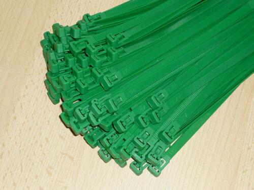 Kabelbinder 370 x 7,6mm wiederverwendbar grün Verbinder wiederlösbar 100 St