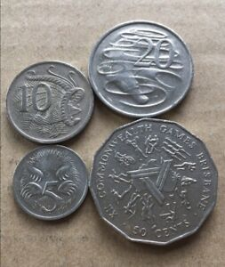 1982-Australian-50-Cent-20-Cent-10-Cent-5-Cent-Coin-Set-Of-4-FREE-Post