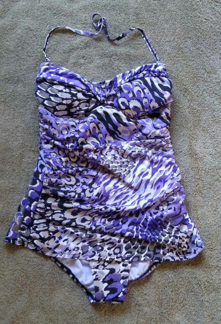 91b3b5c1725a Jantzen Swimsuit Sz 12 One Piece Tunic Pin Up Palm Twist Purple Animal Print