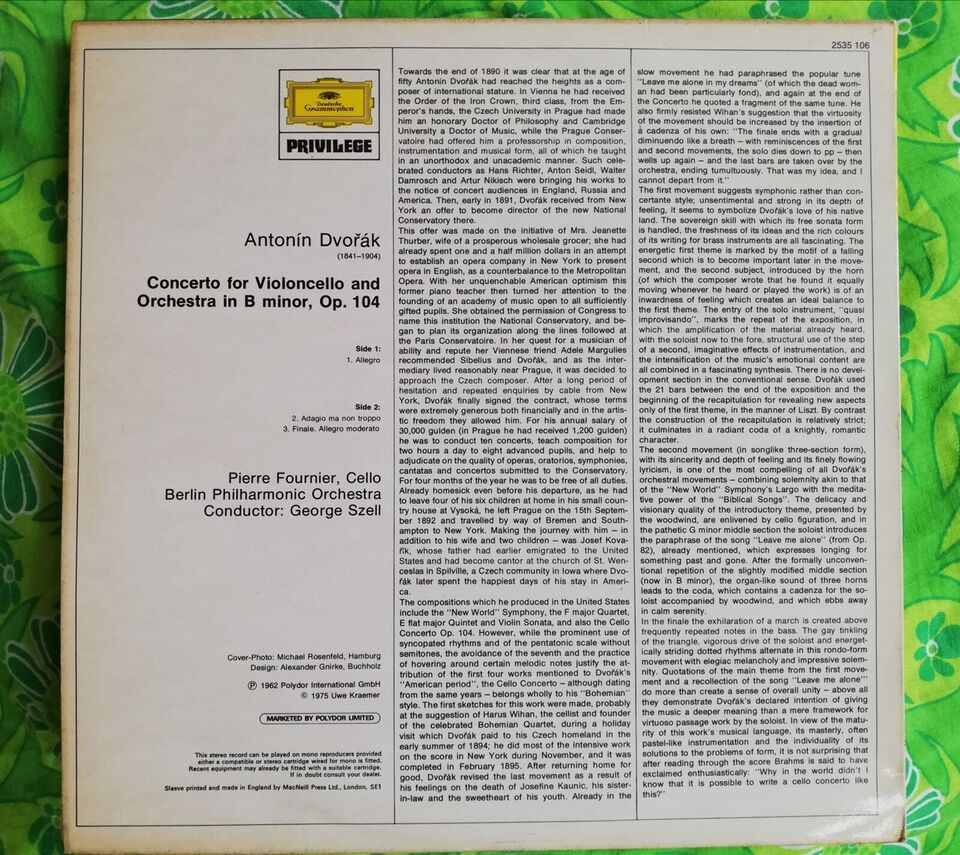 LP, Pierre Founier, Koncert for cello og Orchester