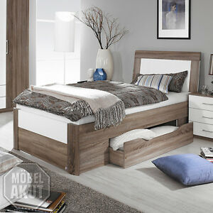 bett arona futonbett in havanna eiche und wei hochglanz mit schubkasten 100x200 ebay. Black Bedroom Furniture Sets. Home Design Ideas