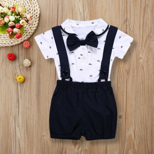 2PCS Kids Baby Boys Romper T-shirt+Toddler Bib Pants Overalls Summer Outfits Set