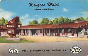 B31-Seiling-Oklahoma-Ok-Postcard-Linen-Rangers-Motel-Highway-60