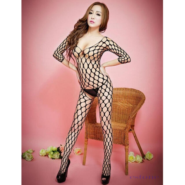 Sexy Fishnet Open Crotch Lingerie Underwear Nightwear Bodysuit Babydoll Dress
