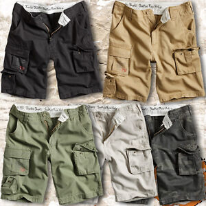 SURPLUS TROOPER MENS MILITARY STYLE ARMY COMBAT CARGO SHORTS 100% WASHED COTTON