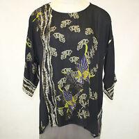 Citron Clothing Fall Winter Plus Size 100% Silk Butterflies Tunic Top 2x