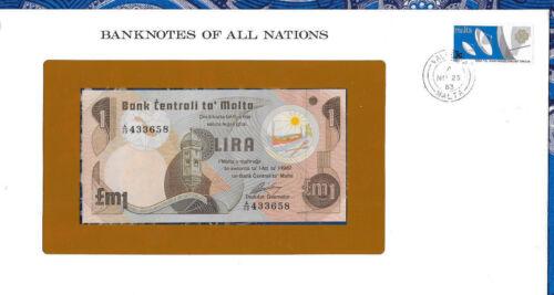 Banknotes of All Nations Malta 1979 1 Pound Lira P34b UNC Prefix A//13