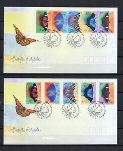 AUSTRALIE-PAPILLONS-2-series-de-5-TP-Nor-Adhesif-sur-2-enveloppes-FDC