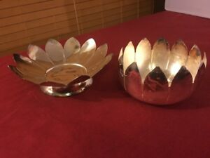 Vintage Leonard Silver Plated 2pc Dishbowl Centerpiece Lotus Flower