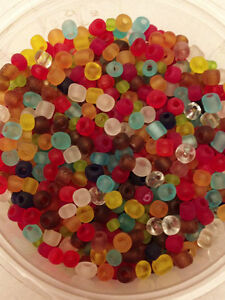 jewellery making approx 4mm 50g glass seed beads size 6//0 Orange Frosted
