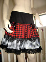 Black White Red Check Lace Long Skirt Goth Rock Punk Lolita Gift All Sizes