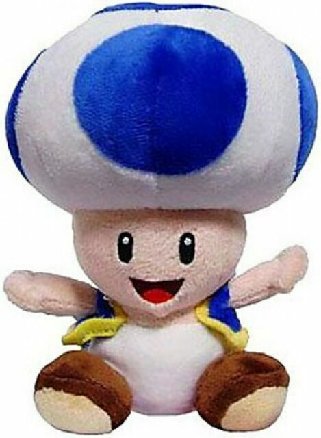 "Super Mario Bros Toad Blue Plush 8/"" All Star Collection"