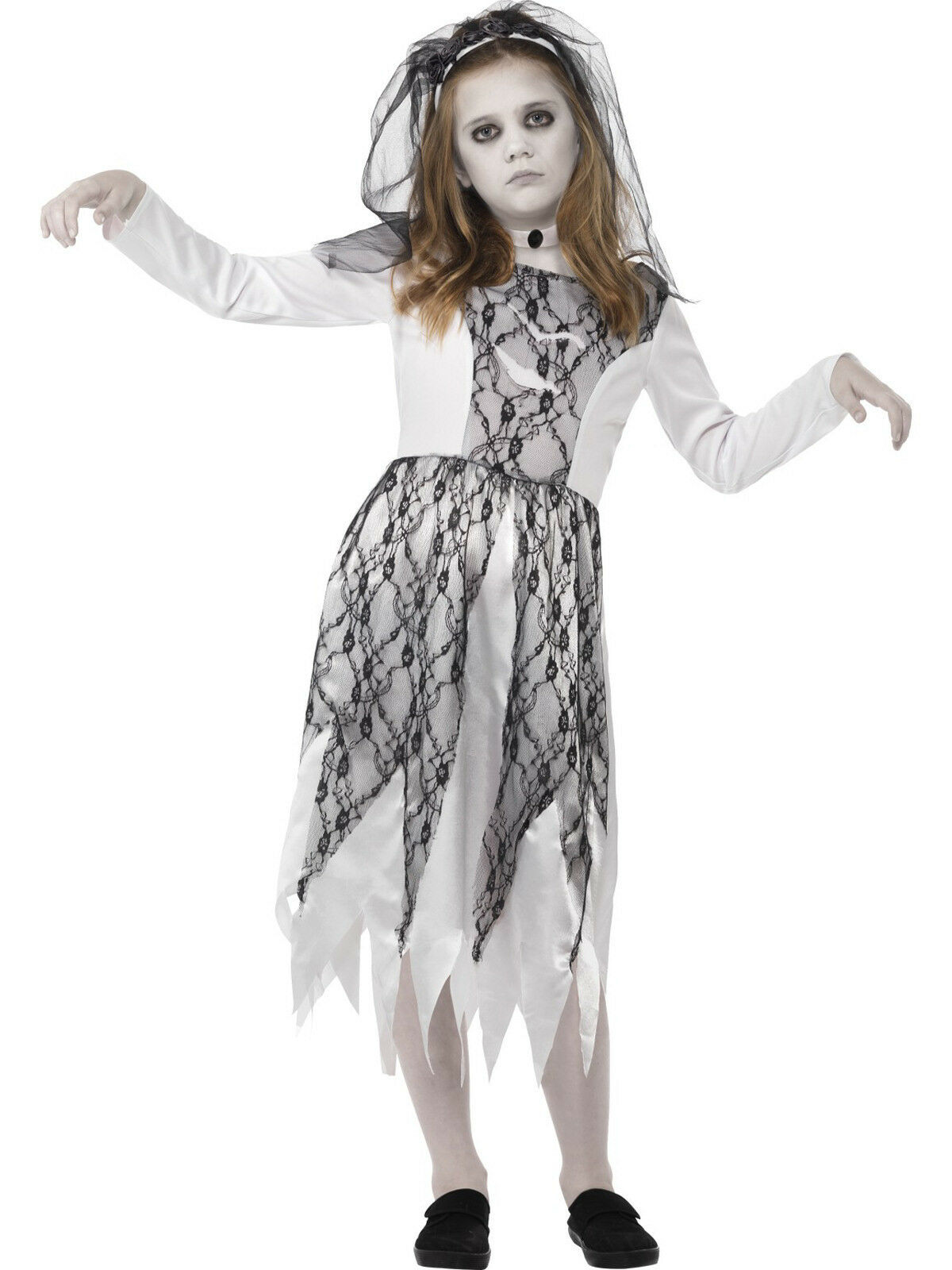 Ghost Dead Corpse Bride Girls Childs Kids Halloween Fancy Dress Costume 4-12