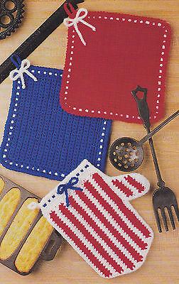 Crochet Pattern ~ HANDY POTHOLDERS & OVEN MITT Potholder ~ Instructions