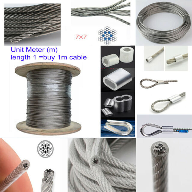 5 m stainless steel wire rope cable 1 mm cordage Strand 7x7