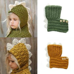 da4122fff06 Kids Children Warm Dinosaur Animal Hat Knitted Coif Hood Scarf Cap ...