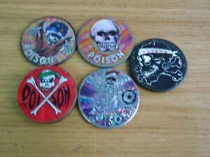 5 VINTAGE metal POG SLAMMERS SKULL ZOMBIE 8 BALL POISON | eBay