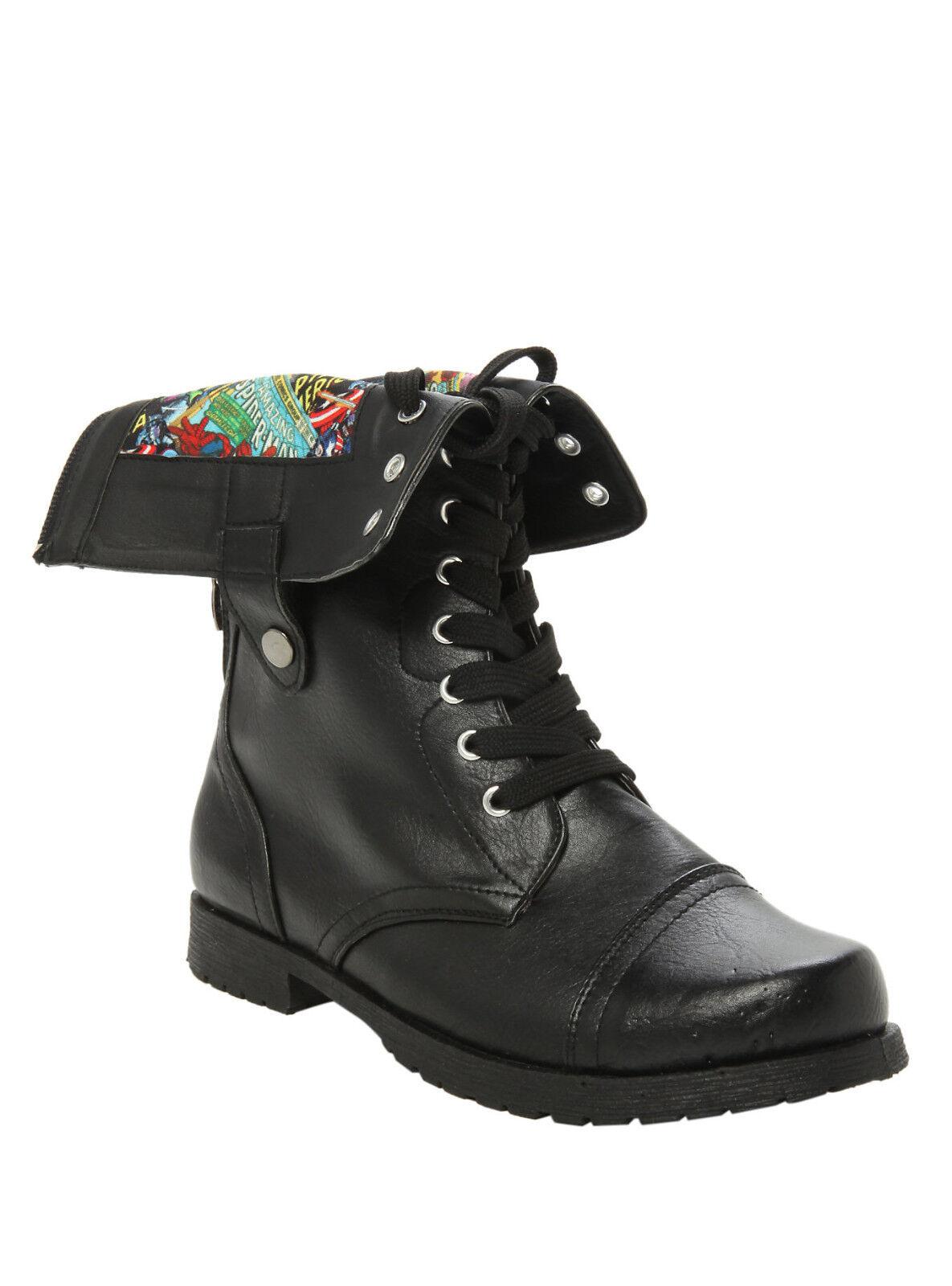 Marvel Avengers Comics Damenschuhe Fold Over Lace Up Zipper COMBAT BOOTS Schuhe 6 9 10