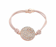 Pink /Tan Leather Cord Rose Gold Diamante Curved Disc Charm Bracelet Magnetic