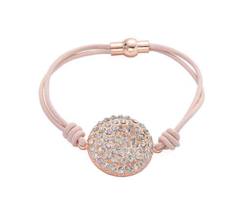 Rosa//Cable De Cuero Tostado Oro Rosa Diamante Curvo disco pulsera con dijes magnética