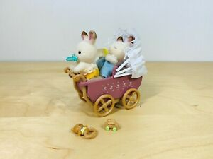 Sylvanian-Families-Chocolate-Rabbit-Twin-Babies-Kabe-Breeze-Pram-Baby-Carriage