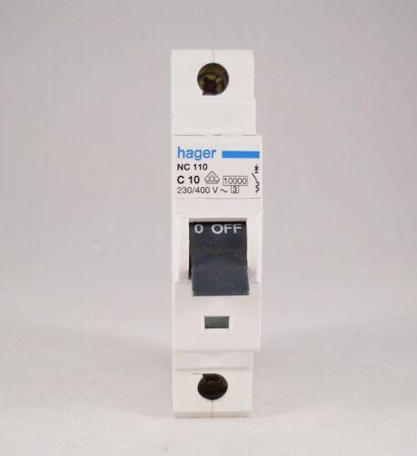 HAGER NC110 10AMP C10 TIPO C Interruttore Automatico PALO SINGOLO Consumatore Unità Board