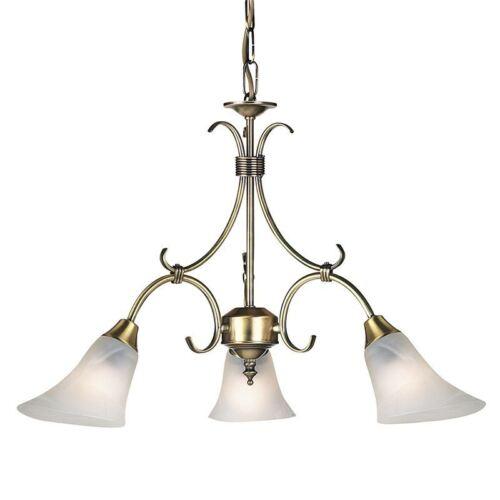 Endon Lighting Hardwick 3lt Ceiling HOMOLOGUE 40 W Antique Brass Finish 144-3an