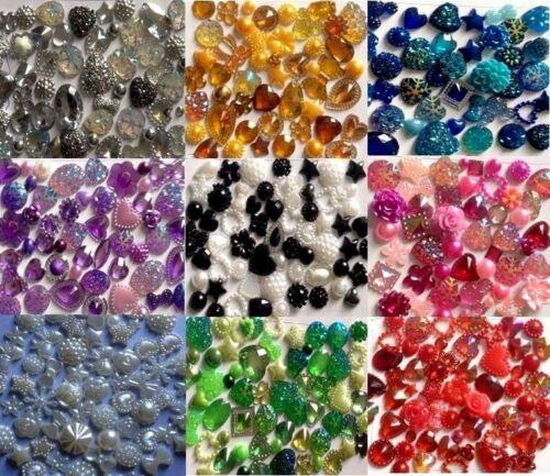 60 x Mixed Flat backs Hearts Resin Pearls Bow Flower Embellishments Cabochon