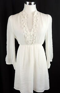 Lucy-Paris-M-Romantic-Beachy-White-Lace-Tunic-Blouse-Empire-Roll-Tab-Sleeves