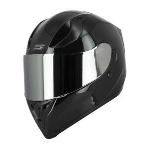Casque-Moto-Integral-S441-VENGE-Noir-Brillant-Visiere-CHROME-clair-solaire