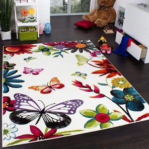 Papillon-Tapis-Pour-Filles-Chambre-multi-oloured-Enfants-Tapis-Bebe-Salle-de-jeux-tapis