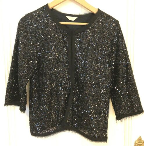 Gorman Sequin Silk Cotton Cardigan Top EUC Medium