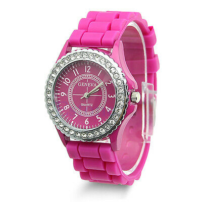 Geneva Fashion Crystal Jelly Gel Silicon Girl Women's Quartz Wrist Watch