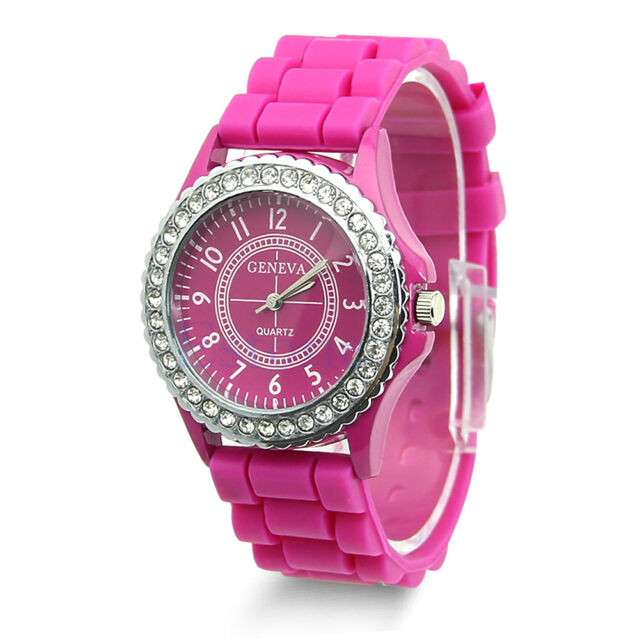 Fashion Women Bling Crystal Rhinestone Bezel Geneva Silicone Rubber Jelly Watch