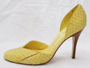 Chinese-Laundry-Pumps-Alanie-Snake-Embossed-Yellow-Leather-D-039-Orsay-Shoes-size-7