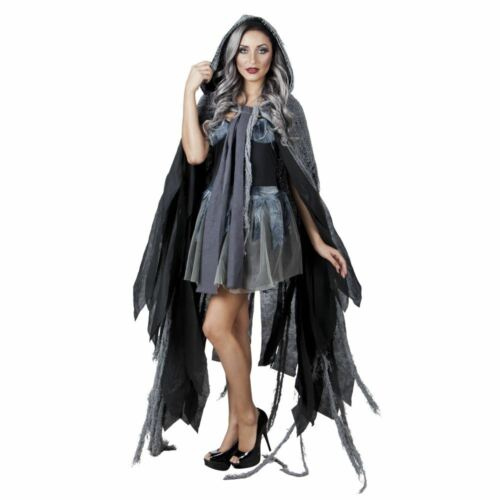 Ladies Hooded Gloom Cape Fancy Dress Ghost WItrch Halloween Costume Accessory